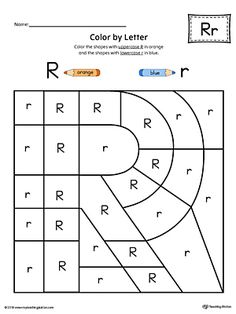 Uppercase Letter R Color-by-Letter Worksheet Worksheet. The Uppercase Letter R Color-by-Letter Worksheet will help your child identify the uppercase letter R and discover colors and shapes. Letter R Activities, Letter R Crafts, Letter Worksheets For Preschool, Preschool Writing, Preschool Letters, Writing Worksheets, Kindergarten Worksheets, Hands On Learning Kindergarten, Capital Letters Worksheet