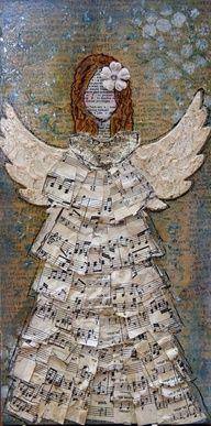 Christmas Angel - Original Art on 6 X 12 canvas. Mixed Media Canvas, Mixed Media Collage, Collage Art, Music Collage, Art Altéré, Art Sur Toile, Music Crafts, Barn Crafts, Kid Crafts