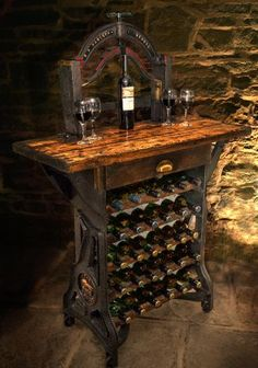 """Antike Weinregale, """"The Henley"""" Victorian Mangle Wine Rack & Table. Antike Weinregale, """"The Henley"""" Victorian Mangle Wine Rack & Table. Tasting Table, Wine Tasting, Industrial Wine Racks, Rustic Wine Racks, Diy Wine Racks, Iron Wine Rack, Wine Rack Table, Wine Rack Design, Old Sewing Machines"""