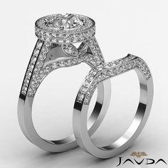 3ct Round Diamond Halo Pave Engagement Bridal Set Ring GIA F VS2 14k White Gold