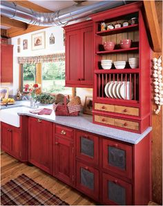 I would have it all white with the dark butcher block counter tops but it's a lovely kitchen set up. Dreamy farm house kitchen.