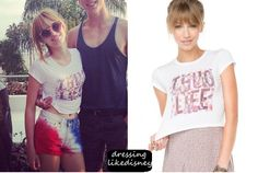Bella Thorne wears this Brandy Melville Corolina Thug Life Top, in her instagram post