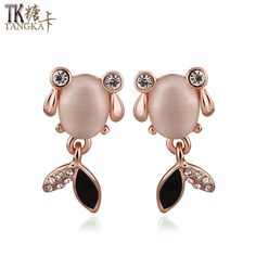 TANGKA new creative woman goldfish studs earrings exquisite cat's eye inlaid white zircon earrings fashion women's wear jewelry