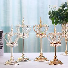Europe metal Single head candle stand wedding candlestick decor candle holders Crown crystal candle holder for home table Sweet 16 Decorations, Quince Decorations, Wedding Decorations, Crown Centerpiece, Cheap Candle Holders, Crown Decor, Diy Photo Backdrop, Disney Inspired Wedding, Candle Stand