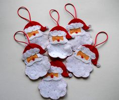 Santa Claus holiday decorations,red,red felt Father Christmas,handstitched santas,xmas tree decorations,yuletide santa,HANDMADE BY FRALINE by fraline on Etsy