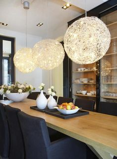 Fun lights above breakfast bar or your dining room table Interior Design Advice, Interior Decorating, Fireplace Mirror, Lighting Concepts, Interior Exterior, Dining Room Design, Kitchen Dining, Dining Area, Home And Living