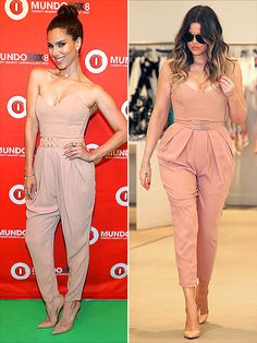 Fashion Faceoff | ROSELYN VS. KHLOÉ  | Apparently, this Elisabetta Franchi jumpsuit comes with one styling rule: Wear with nude pumps. The stars clearly got the matchy-matchy memo, but they diverged when it came to the belt selection.