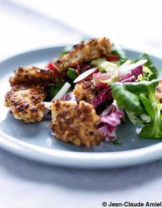 Poulet pané aux noisettes, salade de jeunes pousses - Nos 25 recettes malignes…
