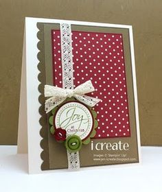 red polka dot - stitched paper, ribbon - baker's twine, border punch, sentiment - stamped reindeer