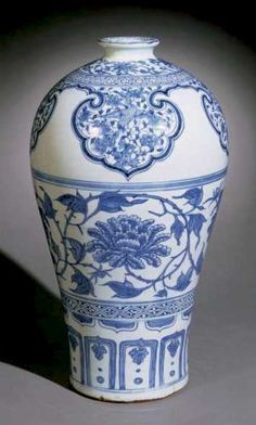 Chinese Art: Peony and Bird Vase Blue and White Yuan Dynasty