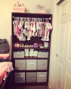 # diy baby closet Turned an old bookcase into this♥ Baby Bedroom, Baby Boy Rooms, Baby Room Decor, Baby Storage, Storage For Baby Clothes, Kids Storage, Baby Life Hacks, Old Bookcase, Everything Baby