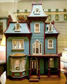 My Beacon Hill. A work in progress for years. Dollhouse Kits, Wooden Dollhouse, Victorian Dollhouse, Dollhouse Dolls, Dollhouse Furniture, Dollhouse Miniatures, Diy Furniture, Fairy Houses, Doll Houses