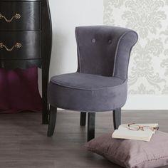 Petit fauteuil crapaud tissu velours style baroque + pieds bois noirs AMY