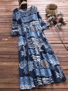 Vintage Print O-Neck Short Sleeve Plus Size Maxi Dress with Pockets Plus Size Vintage Dresses, Plus Size Maxi Dresses, Summer Dresses, Vestidos Vintage, Themed Outfits, Vintage Prints, Plus Size Fashion, Ideias Fashion, Clothes For Women