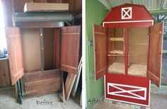 Our chicken coop barn made from an old armoire. I use the bottom drawer for storing food and supplies. The girls love it!
