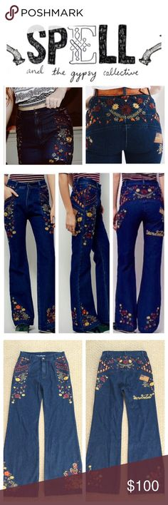 """Spell & The Gypsy Collective Floral Jeans.  NWOT. Spell & The Gypsy Collective Embroidered Flared Jeans, 100% cotton, machine washable, 24"""" waist, 10.5"""" front rise, 14.5"""" back rise, 32"""" inseam, 20"""" leg opening all around, inspired by decades past, these high rise flares have a semi relaxed fit through the leg, colorful floral embroidery detailing throughout, rigid denim, flat back, two front pockets, zip fly button closure, black line drawn through label to prevent return to store…"""