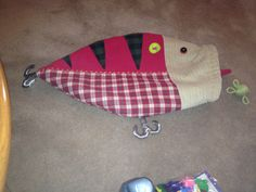 Homemade Fishing Lure Stocking Homemade Fishing Lures, Fishing Gifts, Best Fishing Boats, Christmas Stockings, Christmas Ornaments, Christmas Tree, Holiday Store, Xmas Decorations, Decor Crafts