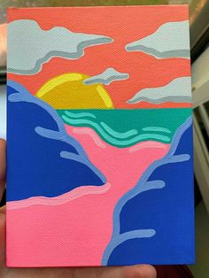 Small Canvas Paintings, Easy Canvas Art, Small Canvas Art, Easy Canvas Painting, Mini Canvas Art, Cute Paintings, Simple Acrylic Paintings, Acrylic Canvas, Sunset Acrylic Painting