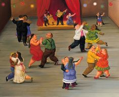 Dancing Artwork By Fernando Botero Oil Painting & Art Prints On Canvas For Sale Frida Diego, Spanish Art, Spanish Class, Mexico Art, Naive Art, Art Graphique, Oeuvre D'art, Canvas Art Prints, Folk Art
