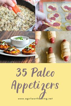 It's not a party without a whole lot of delicious paleo appetizers to nibble on. Your Game Day or New Year's Eve party guest will love the choices - teriyaki meatballs, paleo battered onion rings and pretzels are just a few of the recipes you will find. Paleo Appetizers, Bread, Breakfast, Food, Morning Coffee, Paleo Starters, Breads, Bakeries, Meals