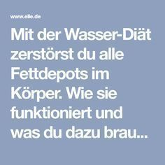 Mit der Wasser-Diät zerstörst du alle Fettdepots im Körper. Wie sie funktioni… With the water diet you destroy all fat deposits in the body. How it works and what you need to do, you'll find out now ELLE. Diet And Nutrition, Health Diet, Health Fitness, Fitness Workouts, Detox Cleanse For Weight Loss, Diet Planner, Gewichtsverlust Motivation, Fat Burning Drinks, Fat Loss Diet