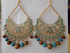 Gold Tone Chandelier Chain Earrings with Turquoise by maryannsway on etsy