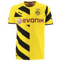 The yellow and black Borussia Dortmund PUMA home jersey features a diagonal stripes on half of its front and one sleeve. Two starts appear on the chest of above the BVB emblem in recognition of the twenty of the club's titles. Cheap Football Shirts, Football Gear, Football Kits, Soccer Shop, Soccer Kits, Club Soccer, Lionel Messi, Maillot Dortmund, Premier League