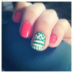 Aztec && orange nail design!.