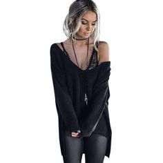 Womens Sexy Sweater Off Shoulder Long Sleeve Loose Knitted Casual Jumper Tops Women Sweater casual tops female Size S~XL