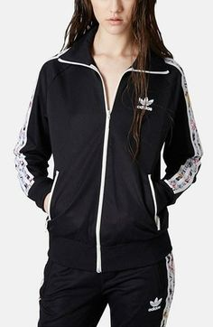 LOVE the print on the arm on this Topshop x adidas originals jacket 0b7cd5cd85c70