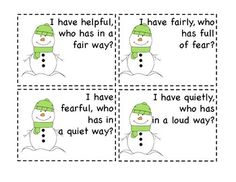 SNOWMAN SUFFIXES--I HAVE WHO HAS - TeachersPayTeachers.com (only $1 & such a fun way to practice suffixes!!)