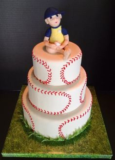 Baseball baby cake for a Baseball themed baby shower given by a group of teenage boys. The baby was sculpted from modeling chocolate. Pretty Cakes, Cute Cakes, Sports Themed Cakes, Baby Shower Images, Sport Cakes, Fancy Cakes, Cake Creations, Creative Cakes, Shower Cakes