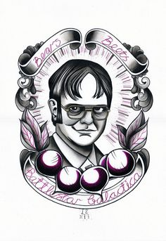 Dwight Schrute - The Office TV Show  - Watercolour Art Print. £15.00, via Etsy.