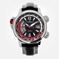 Gent's Titanium Jaeger-LeCoultre Master Compressor Extreme World Alarm wristwatch. Featuring an original black leather strap with deployment buckle.