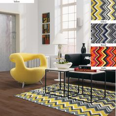 Dorm rugs are a college dorm essential that will quickly personalize a boring room. Check out our contemporary, colorful, modern, and stylishly chic rugs great for apartments and dorm rooms. Chevron Area Rugs, Yellow Rug, Yellow Chevron, Yellow Accents, Grey Yellow, Orange, Affordable Rugs, Mohawk Home, Mohawk Rugs