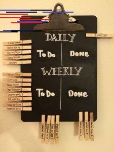 Even grown ups need a chore chart! Daily and weekly chalkboard chore chart for married couples. DIY with chalkboard paint and pens, an old clipboard, and some clothes pins. Teen Bedroom Organization, Craft Organization, Diy Organizer, Organizing Hacks, Cleaning Hacks, Deep Cleaning, Diy Hacks, Easy Home Decor, Diy Room Decor