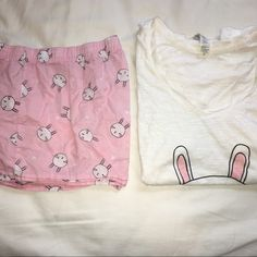 """Cute bunny pajamas 2 piece pajama set. V neck white top with the words """"no bunny loves you like I do"""" and pink pajama shorts with bunny rabbit print. Super cute size large from forever 21. Worn once! Forever 21 Intimates & Sleepwear Pajamas"""
