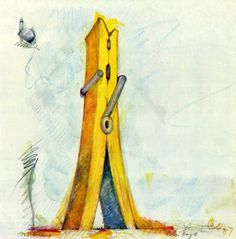 Claes Oldenburg: Late submission to the Chicago Tribune Architectural Competition of 1922, Clothespin (Version two) 1967