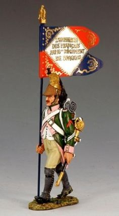 Napoleon's Grande Armee NA175 16th French Dragoons Flag Bearer - Made by King and Country Military Miniatures and Models. Factory made, hand assembled, painted and boxed in a padded decorative box. Excellent gift for the enthusiast.