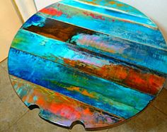 colorful round table tops, bistro, pub tables, recreation pool room tables with built-in pool queue rests, from reclaimed vintage doors