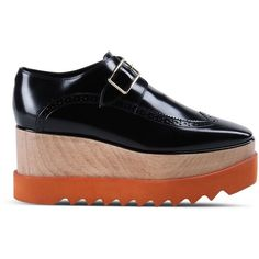 Stella Mccartney Black Brogue Elyse Shoes ($865) ❤ liked on Polyvore featuring shoes, oxfords, flats, footwear, black, wedge shoes, black oxfords, black wedge shoes, oxford flats and black oxford shoes