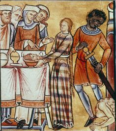 """medievalpoc: """" Anonymous Illuminator The Beheading of John the Baptist Canterbury, England (c. 1200) Psalter (176 fols.), fol. 2 sup v : Twelve scenes from the Old Testament: Beheading of John the Baptist (last scene in the lower register). Material..."""