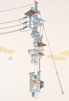 子の字引留行形柱 2010 紙にペン、水彩 35 x 24 cm 撮影:宮島径 MIZUMA ART GALLERY