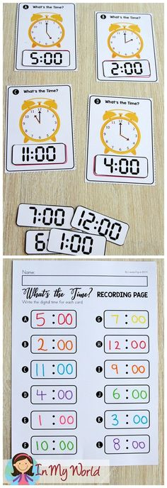 FREE Spring Math Centers for Kindergarten. Telling time to the hour. Telling Time Activities, Teaching Time, Math Activities, Math Games, Teaching Resources, Teaching Ideas, Kindergarten Learning, Kindergarten Centers, Math Centers