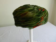 Vintage Green Feather Pillobx Hat from Evelyn by FrouFrou4YouYou, $15.00