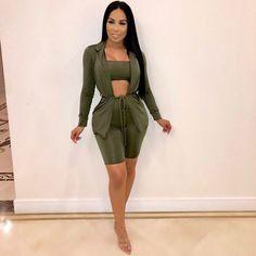 Women Long Sleeves Crop Tops Single-breasted Rib Solid Bodycon Mini Dress 2pcs