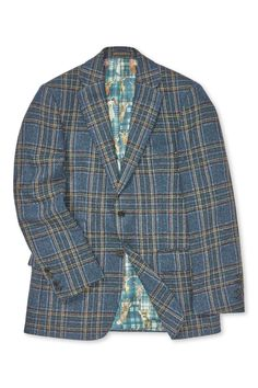 This handsome jacket is cut in a luxurious wool and silk tartan cloth, fabric woven by Solbiati on the banks of Lake Como, Italy. It features a navy ground with subtle forest green and tan coloured overchecks. Woven Fabric, Tartan, Suit Jacket, Handsome, Shirt Dress, House Styles, Mens Tops, Jackets, Shirts