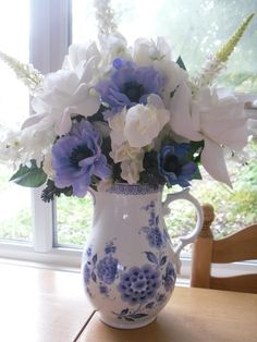 Blue and White Vintage Jug with cottage garden flowers in blue, white and ivory