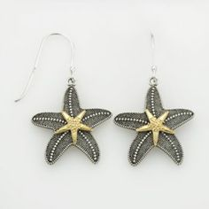 14k Gold Over Silver & Sterling Silver Textured Starfish Drop Earrings