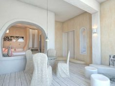 """Dome Resort, SantoriniSantorini2013 - 2015PrivateBuilt4018 m2In terms of design, the """"Dome resort' masterplan was based on the evolution and transformation of soft curving forms. The organic minimalist form, which is at the heart of our landscape design, flows from one transformation to the next, forming walls, then seating benches, then evolving into parterres, pools, yards, bars and restaurant spaces. The flowing lines and embracing spaces provide seclusion, while ensuring uninhibited se Hotel Architecture, Hotel Interiors, Villa Design, Santorini, Landscape Design, Minimalist, Restaurant, Benches, Pools"""
